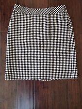Eddie Bauer Black White Check Wool Blend Pencil Career Skirt Lined 2 Petite
