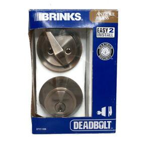 Brinks Single Cylinder Deadbolt Lock 2717-109 Keyed On One Side Antique Brass 20