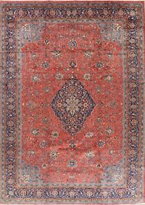 Rust/Blues Floral Hand-Knotted Traditional Mahal Area Rug Oriental Carpet 10x13