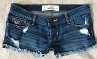 Hollister Cuffed Low Rise Destroyed Denim  Blue Jean shorts size 0 24