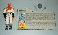 1987 GI Joe Cobra Wolf Driver Ice Viper v1 Snow Figure w/ File Card *Complete