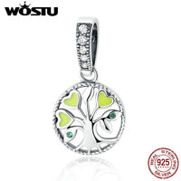 Wostu European S925 Sterling Silver Pendant Charm Fit Bead Tree of Life With CZ