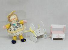 Vintage Nursery Step Stool, Doll, Bear Bench Artisan Dollhouse Miniature 1:12