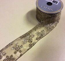 """10yd Roll Sheer Gold Snowflakes Fabric Wire Edge Christmas Ribbon 2.5"""" Wide"""