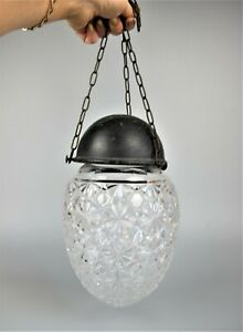 Victorian antique cut crystal glass Hall Ceiling Pendant Light Lamp Shade Bowl.
