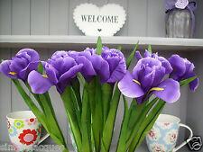 Bunch of 10 Artificial Purple Iris 10 Silk Flowers. 65cm stem length