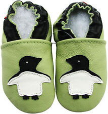 carozoo penguin green 2-3y new soft sole leather baby shoes