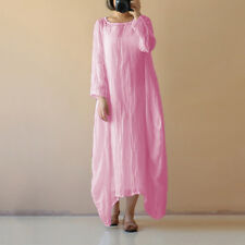 Womens Summer Boho Cotton Linen Casual Kaftan Basic Tunic Maxi Long Dress S-5XL
