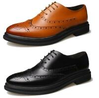 Men Dress Formal Business Genuine Leather Oxfords Brogues Wingtip Lace Up Shoes