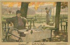 Arts Crafts Outdoor Lunch Bicycle Herbsmorgen 1907 Postcard Artist i6257