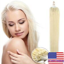 Micro Loop Ring Beads Tip Remy Human Hair Extensions Platinum Blonde 18Inch100S