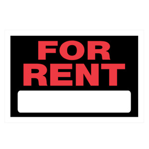 The Hillman Group 839926 8-Inch x 12-Inch Red and White Plastic For Rent Sign