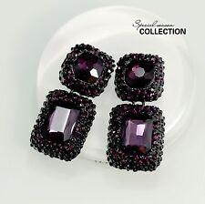 Boucles d`Oreilles Clous Doré Gros Violet Cristal Mariage Carré Geometrique XX17