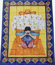 # 47 Mexican Talavera Mural Tile Handmade Folk Art  Backsplash Calla Lily Seller