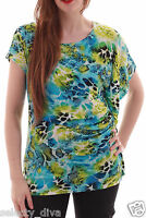 New Women Boho Print Loose Batwing Sleeve Top Oversize Chiffon Blouse T Shirt