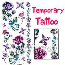 Temporary Tattoo Removable Butterfly Blue Rose X051