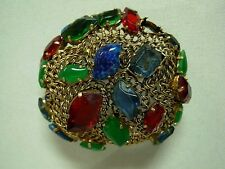RARE VNTG 1962 CHRISTIAN DIOR GERMANY RED BLUE GREEN GEM DOMED CHAIN LINK BROOCH