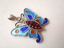 Kleiner 925 Silber Anhänger Schmetterling Email mit Granat 2,7 g/2,4 x 2,1 cm