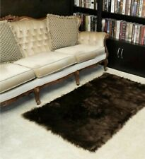 Brown Shaggy Faux Fur Area Rug 3'x5'