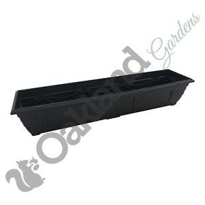 3 x 90cm Window Box Black Plastic Venetian Pot Windowsill Tray Garden Planter