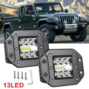 2X 39W Led Light Flush Mount Backup Reverse Front Rear Bumper Cube Pods Fog Lamp