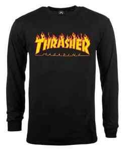 Thrasher Flame Long Sleeve T Shirt - Black