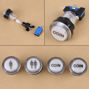 4x LED Start Push Button Kit 1P/2P Start Buttons + Coin Button For Arcade Games