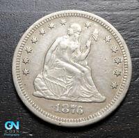 1876 CC Seated Liberty Quarter  --  MAKE US AN OFFER!  #B9234