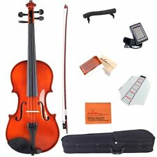 Acoustic Violin 3/4 Size Handcrafted Solid Wood Student Starter Kit, Red Brown