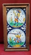 """Tableau 2 Dutch Delft Polychrome Circle Tiles with Soldiers  5"""" x 5"""""""