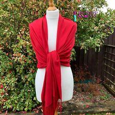 Deep Red Pashmina Wrap Ladies Cashmere Blend Shawl Large Scarf Wedding
