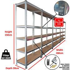 4 Heavy Duty Shelving Racking Garage 5 Tier Storage Units Metal Shelves Bays 2.8