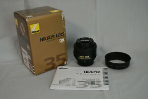 Nikon 35mm f/1.8G AF-S DX Lens with Hood and Box