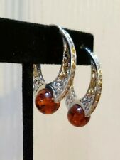 M. VALITUTTI 2-Tone Sterling Silver BALTIC AMBER 10mm Bead FILIGREE HOOP Earring