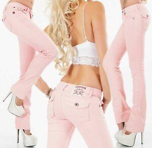 Women's straight leg Jeans stretch Pants mid rise Trousers Light Pink UK 8 -16