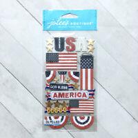 USA Flag Dimensional Stickers Jolee's God Bless America Scrapbook Embellishments