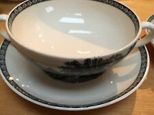 PAIR OF WEDGWOOD 'LUGANO' SOUP CUPS & SAUCERS BLACK /CREAM