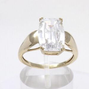 14k Gold DQ Diamonique 9ct Emerald Cut Engagement Ring sz7 New