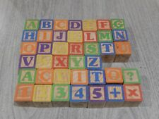 Wood Alphabet Building Blocks 40 pieces USED great condition