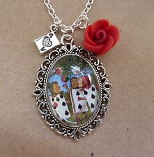 Alice in Wonderland Painting the Roses Red Glass Necklace New in Gift Bag