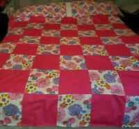 Handmade Flower quilt with 2 pillowcases approx 82x84