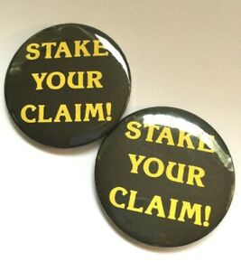 2 Vintage Pinback Button - Stake Your Claim! Century 21 Realty Real Estate