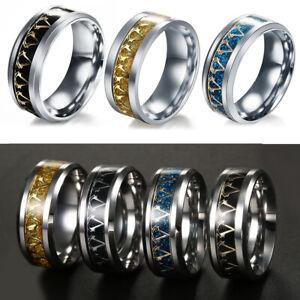 Men Women Fashion Stainless Steel Titanium Band Ring Black Blue Gold Silver 6-13