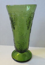 "Indiana Glass Green Harvest Grape 10"" Footed Vase"