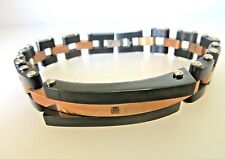 Men's Solid Two Tone Rose Gold & Black Stainless Steel Link Bracelet  8.5 ""