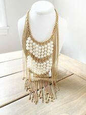 HAUTE COUTURE GOLD Tone CHAIN FRINGE TASSEL PEARL STATEMENT Flapper Necklace