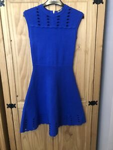 TED BAKER Zaralie blue rib fit & flare full skirt Uk 8 Ted Size 1. Brand New