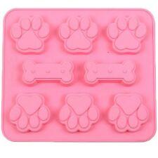 Silicone Pet Dog Bone & Paw Soap mold Candy Chocolate Fondant Tray ICE Cube