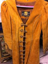 vintage Aturo Burray Olson suede Tan Trench Leather Jacket 12 Women's Handmade