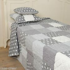 Clayre & Eef Couvre-lit Patchwork couverture gris Stars Quilt 180x260 SHABBY